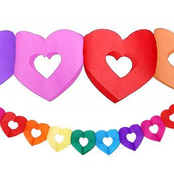Гирлянда 3D Сердечко с вырезом разноцветное