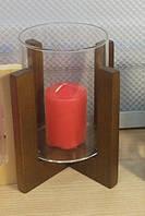 Подсвечник стеклянный на деревянной подставке 80/110 мм , фото 1