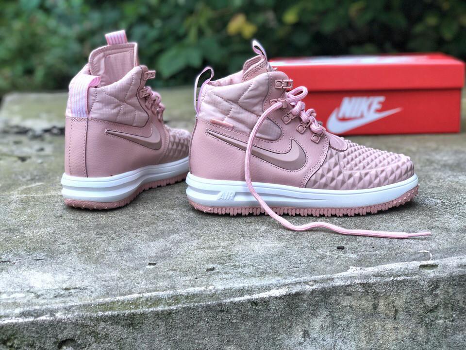4e08305e514a Женские зимние ботинки (кроссовки) Nike Lunar Force 1 Duckboot кожаные с  резиной розовые топ