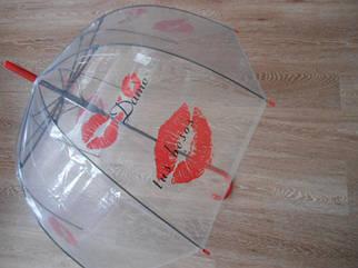 Зонт зонтик прозрачный трость, полуавтомат