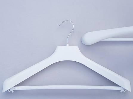 Плечики вешалки пластмассовые V-PLp42 широкие белого цвета, 42 см