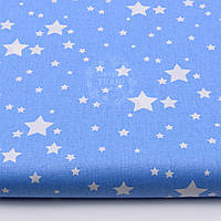 """Ткань хлопковая """"Мини галактика"""" белая на тёмно-голубом фоне (№ 1457)"""
