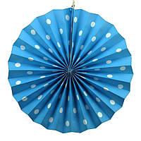 Веерный круг картон 30 см голубой 0001