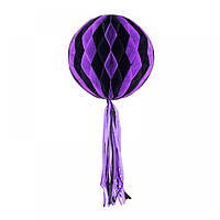 Бумажный шар соты полосатый 30 см фиолетовый