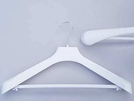 Плечики вешалки пластмассовые V-PLp46 широкие белого цвета, 46 см
