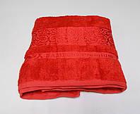 Полотенце бамбуковое банное красное 70х140, Премиум