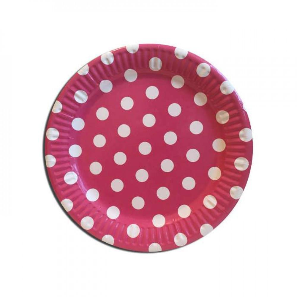 Бумажные тарелки диам.18 см Горошек красный уп. 10 шт