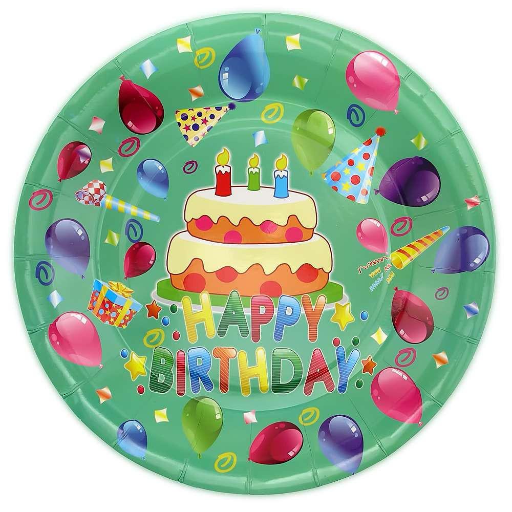 Бумажные тарелки диам.23 см Happy Birthday Тортик уп. 10 шт