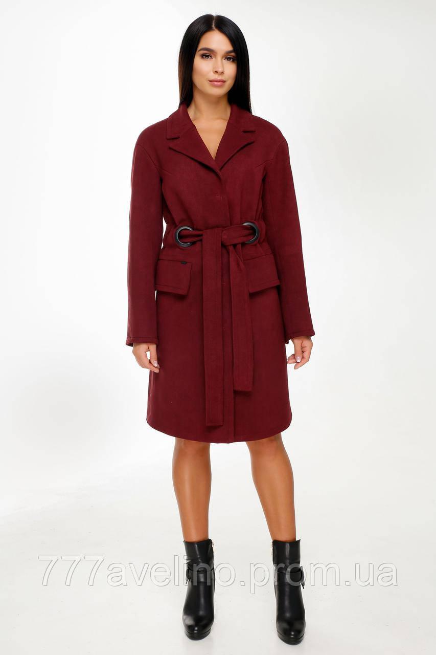 Женское пальто с поясом демисезонное бордовое модное