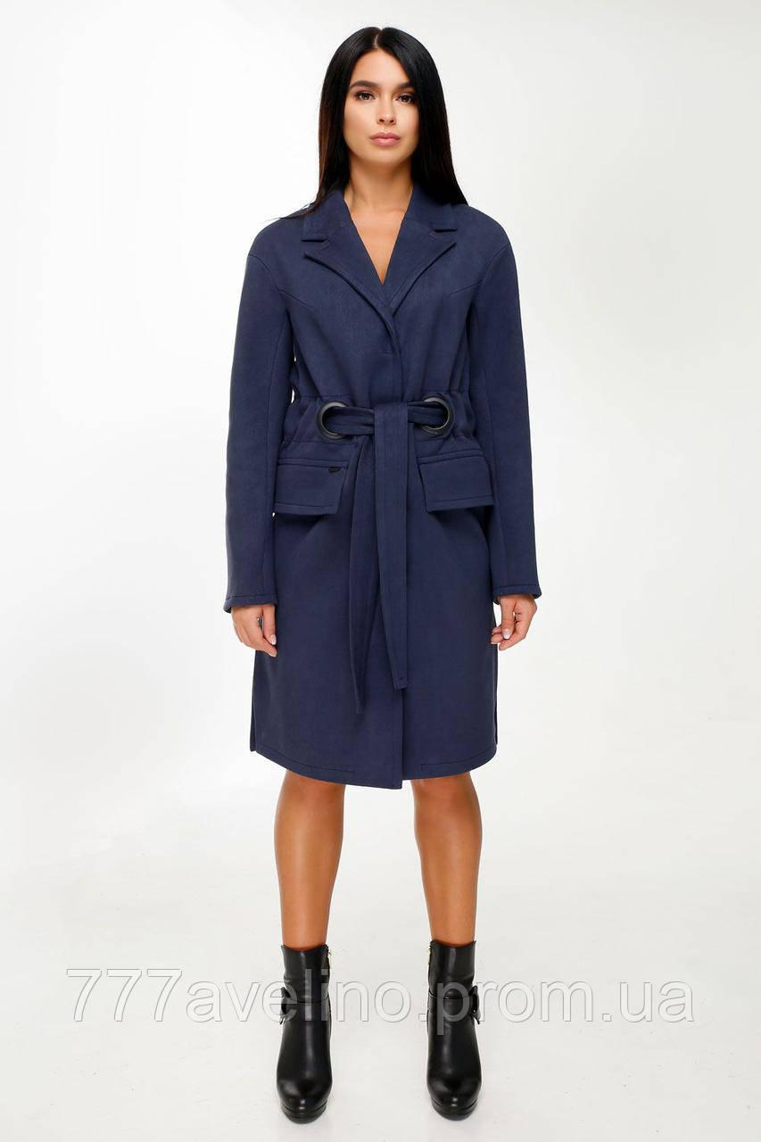 Женское пальто с поясом демисезонное синее