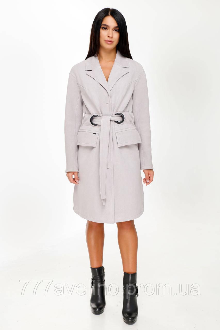 Женское пальто с поясом демисезонное модное