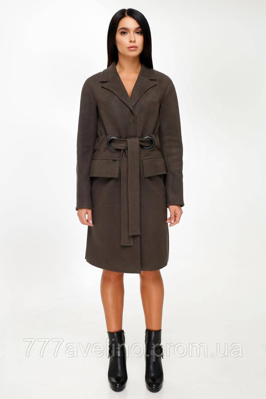 Женское пальто с поясом демисезонное