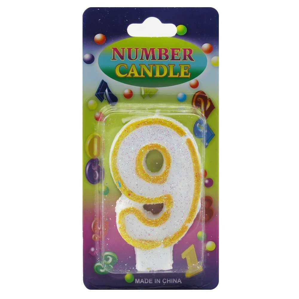Свеча Цифра блестящая 9