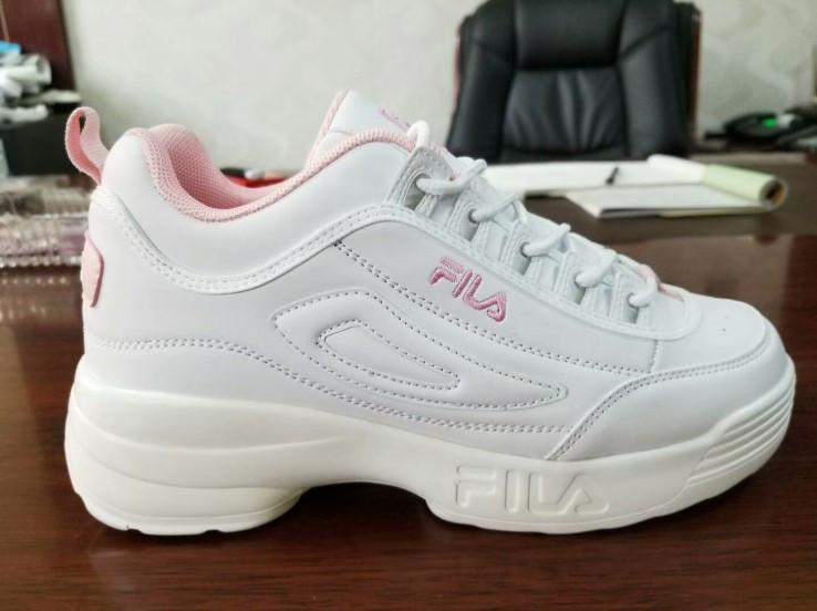 Кроссовки Fila Disruptor II White Pink Белые женские реплика