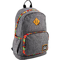 Рюкзак школьный для старших классов, для студентов ТМ GoPack, легкий и молодежный, серый с яркой окантовкой