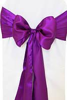 Чехол на стул с фиолетовым бантом Atteks габардиновый белый свадебный / банкетный - 1329