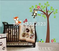 """Наклейка на стену, виниловые наклейки, украшения стены наклейки  """"обезьяна на дереве и лиса рядом""""(лист 60*90)"""