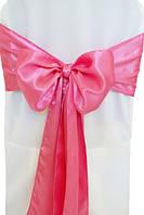 Чехол на стул с ярко розовым бантом Atteks габардиновый белый свадебный / банкетный - 1331