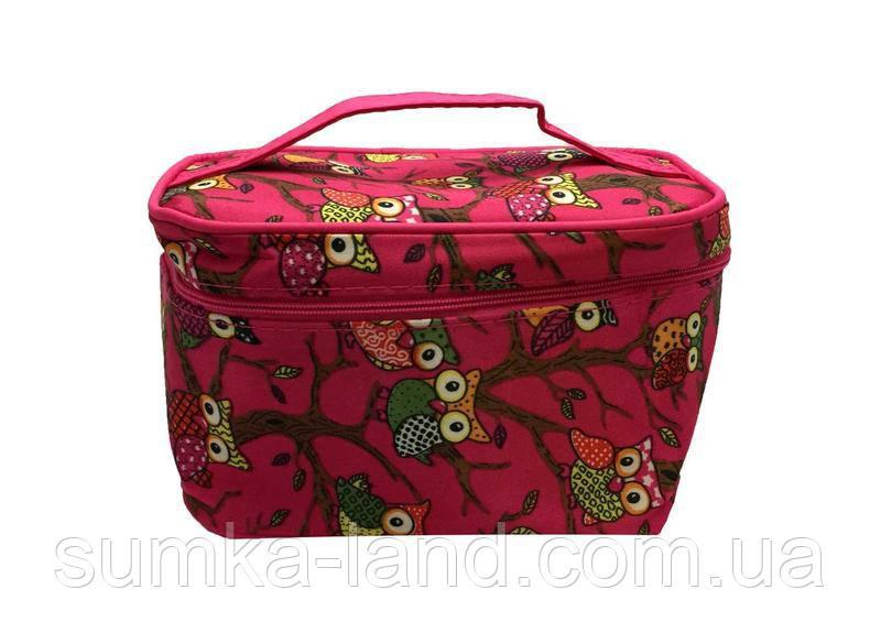 Женская текстильная косметичка-сундук с совами 18*11 см (малиновый)