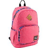 Рюкзак школьный для старших классов, для студентов ТМ GoPack, легкий и молодежный, розовый с яркой окантовкой