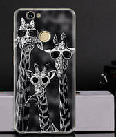 Силиконовый бампер чехол для Huawei Nova с рисунком Жирафы