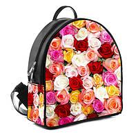 Городской женский черный рюкзак с принтом Букет роз