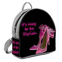 Серый женский городской рюкзак с принтом Розовые туфли