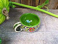 """Горнятко кавове, декор """"Вінок"""" зелене"""