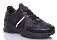 Мужские кроссовки черного цвета в стиле хаки на высокой подошве 36 размер