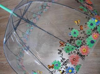 Яркий зонт зонтик прозрачный трость, полуавтомат