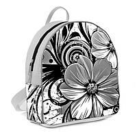 Белый женский городской рюкзак с принтом Цветок нежный