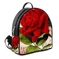Черный городской рюкзак с принтом Роза красная