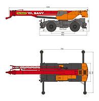 Короткобазовый кран Palfinger Sany SRC 750  г/п 75 т