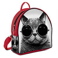Городской женский рюкзак с принтом Кот в очках