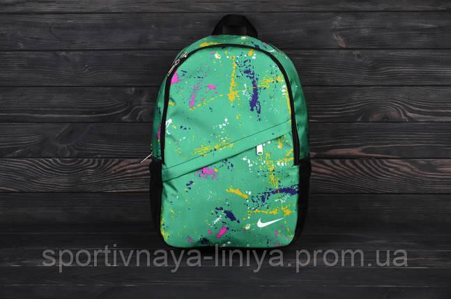 Спортивный зеленый рюкзак Nike принт зеленая клякса (реплика), фото 2