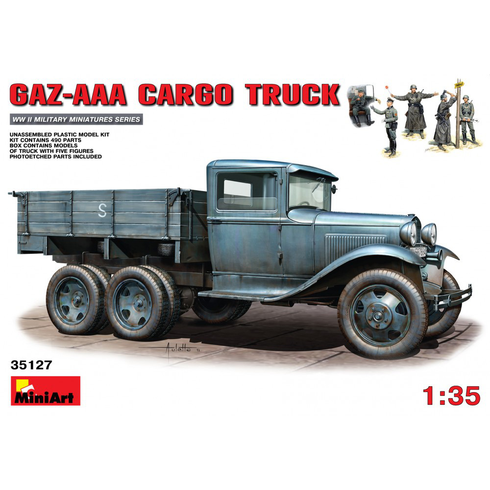Сборная модель советского грузового автомобиля ГАЗ-ААА + 5 фигур. 1/35 MINIART 35127