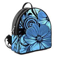 Городской женский рюкзак с принтом Голубой цветок