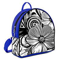 Купить рюкзак женский синий с принтом Цветок
