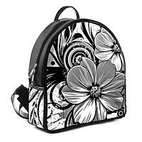 Черный женский модный рюкзак с принтом Цветок