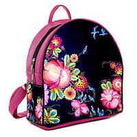 Розовый городской рюкзак с принтом Цветы вышиванка