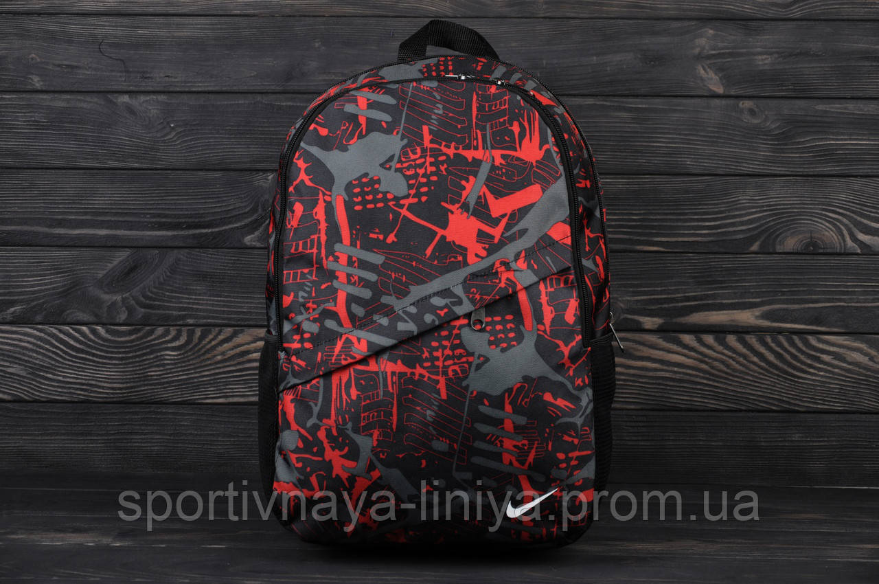 Спортивный красный рюкзак Nike принт fire (реплика)