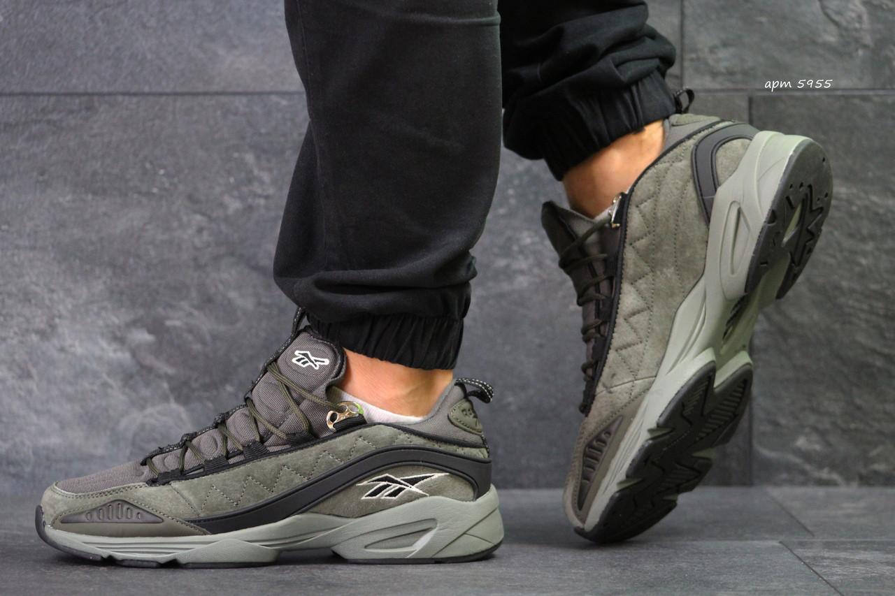 Мужские кроссовки Reebok,замшевые,темно зеленые 44р