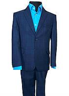Cиний классический костюм на мальчика в клетку №31/3-19 - PT 1081/1, фото 1