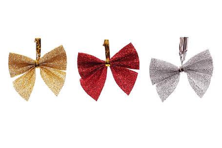 Набор (12шт) новогодних декоративных бантов 5см 3 вида микс красный золото серебро (134-900), фото 2