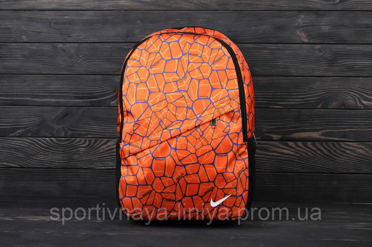 Спортивный оранжевый рюкзак Nike принт оранж (реплика)