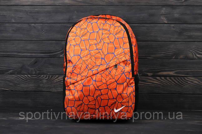 Спортивный оранжевый рюкзак Nike принт оранж (реплика), фото 2