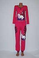 """Пижама женская трикотажная (интерлок), костюм домашний с брюками """"Кошка малиновая"""", фото 1"""