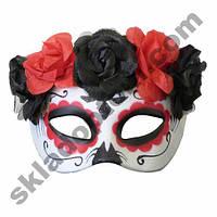 Полу маска пластик День мертвых (красная)