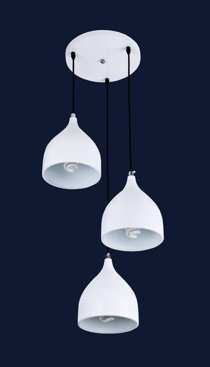 Подвесная белая люстра на три лампы 7044462-3 WHITE