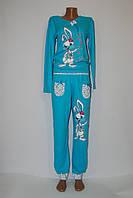 """Пижама женская трикотажная (интерлок), костюм домашний с брюками голубой """"Кролик"""", фото 1"""